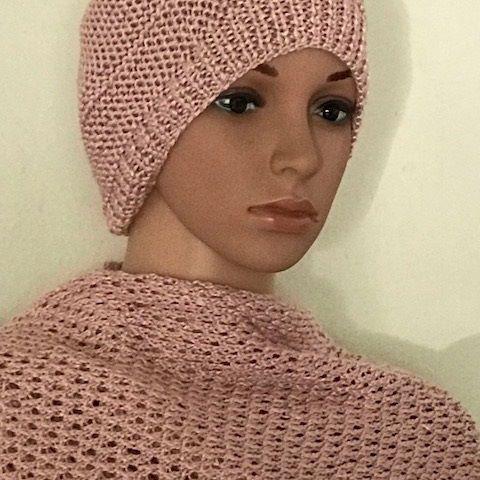Bonnet/Echarpe soie rose